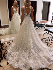 Luxurious Ball Gown V Neck Open Back White Lace Wedding Dresses,Elegant Bridal Gown