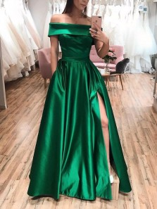 Charming A-Line Off the Shoulder Open Back Green Satin Long Prom Dresses with High Split,Formal Party Dresses with Pockets