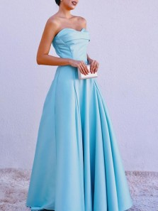 Simple A-Line Sweetheart Open Back Blue Satin Long Prom Dresses,Evening Party Dresses