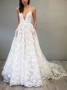 Gorgeous A-Line V Neck Spaghetti Straps Open Back White Lace Wedding Dresses with Pockets