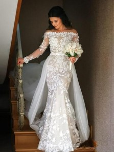 Glamorous Mermaid Off the Shoulder Long Sleeve White Lace Tulle Wedding Dresses 191114001