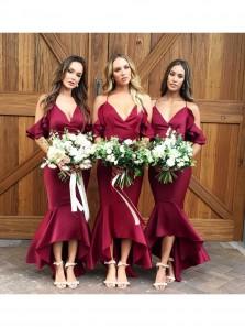 Gorgeous Straps V Neck Wine Red /Burgundy Mermaid Long Bridesmaid Dress,Elegant Evening Formal Dress