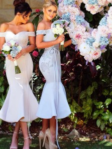 Mermaid Off the Shoulder Open Back Light Grey Satin Ankle Length Bridesmaid Dresses