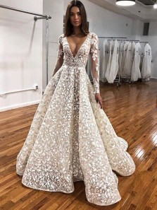 Vintage Ball Gown V Neck Long Sleeve Ivory Lace Appliques Long Wedding Dresses,Bridal Gown