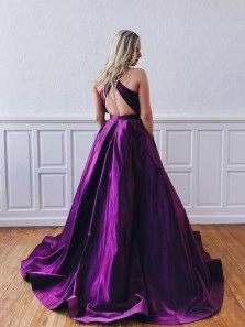 Elegant A-Line Halter Open Back Purple Satin Long Prom Dresses with Pockets,Formal Evening Party Dresses