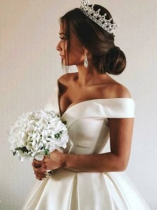 Ball Gown Off the Shoulder White Satin Wedding Dresses with Pockets