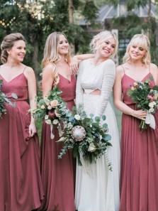 Simple A-Line Spaghetti Straps Dusty Rose Chiffon Floor Length Bridesmaid Dresses