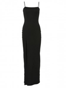 Mermaid Low-cut Spaghetti Straps Open Back Black Satin Long Prom Dresses with High Split,Evening Party Dresses