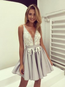 A-Line Sexy Deep-V-Neck Silver Short Prom Dresses Evening Party Dress Under 100$