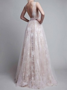 Chic A-Line V Neck Backless Champagne Satin Long Prom Dresses with Lace,Charming Formal Dresses