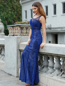 Sparkly Sheath Round Neck Royal Blue Long Prom Dresses,Elegant Evening Party Dresses