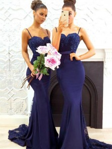 Charming Mermaid Sweetheart Backless Navy Blue Satin Long Bridesmaid Dresses with Lace