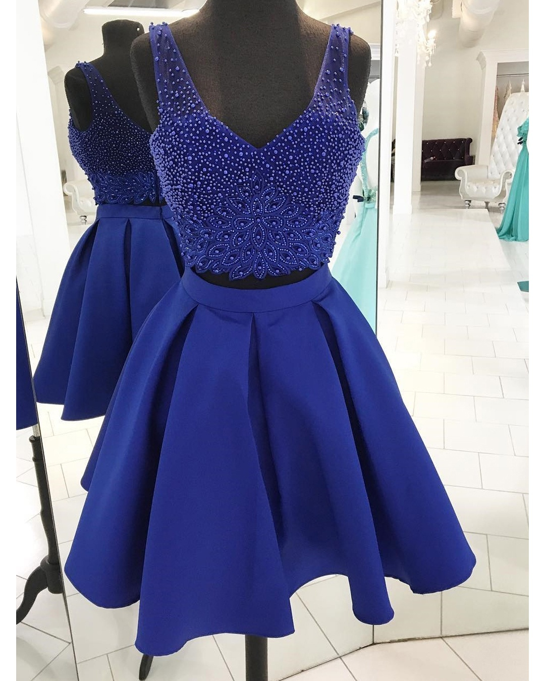 9849b3bc7 Cute A Line V-Neck Royal Blue Two Piece Homecoming Dress With Beading