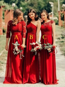 Charming 3 Styles Red Chiffon Long Bridesamid Dresses,Wedding Guest Party Dresses