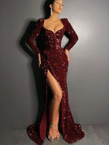 Sparkly Mermaid Sweetehart Long Sleeve Burundy Sequins Long Prom Evening Dresses with High Slit