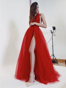 Unique A-Line Halter Backless Red Tulle Long Prom Dresses with High Split,Sexy Evening Party Dresses