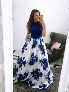 Elegant A-Line Halter Open Back RoyalBlue Floral Print Satin Long Prom Dresses,Formal Prom Gown DG0214003