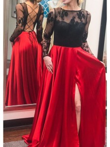 Elegant A-Line Long Sleeve Cross Back Black and Red Long Prom Dresses with Slit,Evening Party Dresses