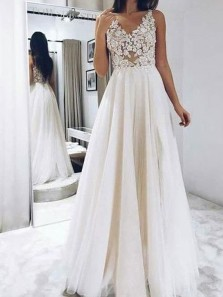 Modest A-Line V Neck Ivory Tulle Long Wedding Dresses with Appliques