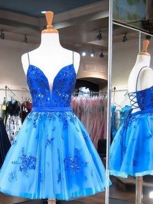 Cute A-Line V Neck Spaghetti Straps Cross Back Blue Tulle Short Homecoming Dresses with Appliques,Back to School Dresses