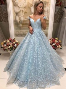 Charming A-Line Off the Shoulder Open Back Blue Lace Long Bridesmaid Dresses,Formal Party Dresses