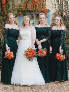 A-Line Off the Shoulder Long Sleeve Dark Green Lace Long Bridesmaid Dresses