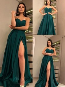 A-Line Sweetheart Open Back Green Satin Long Prom Dresses with High Split,Evening Party Dresses,Formal Dresses