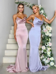 Mermaid Spaghetti Straps Open Back Blush Pink Satin Long Bridesmaid Dresses