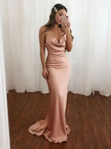 Chic Mermaid Cowl Neck Open Back Blush Satin Long Prom Dresses with Train,2020 Evening Party Dresses