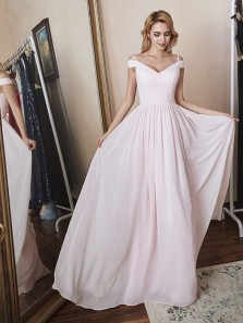 Elegant A-Line Off the Shoulder Open Back Light Pink Chiffon Long Prom Dresses,Cheap Bridesmaid Dresses
