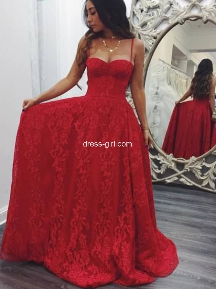 40bd6c90a2f Charming A-Line Spaghetti Straps Open Back Red Lace Long Prom Dresses,Formal  Party Dresses