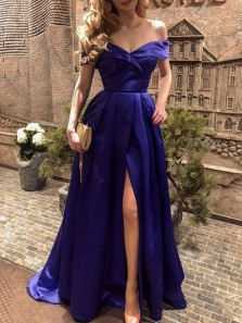 Charming A-Line Off the Shoulder Royal Blue Satin Long Prom Dresses with Split,Evening Party Dresses