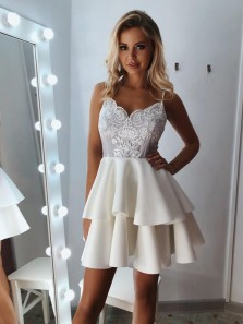 Cute A-Line V Neck Open Back Spaghetti Straps Ivory Satin Lace Short Prom Dresses,Homecoming Party Dresses