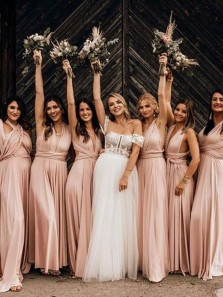 Chic A-Line Pink Chiffon Convertible Long Bridesmaids Dresses Under 100