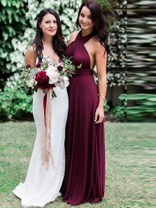 Charming A-Line Halter Burgundy Chiffon Backless Long Bridesmaid Dresses Under 100
