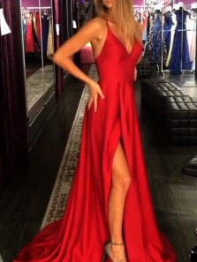 Simple A-Line V Neck Spaghetti Straps Cross Back Red Satin Long Prom Dresses with Side Split