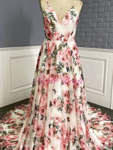 Modest A-Line V Neck Floral Printed Satin Long Prom Dresses Formal Evening Party Dresses
