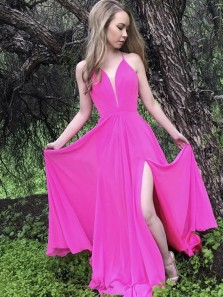 Unique A-Line V Neck Cross Back Rose Red Chiffon Long Prom Dresses with Side Split,Evening Party Dresses