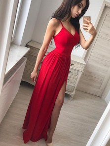 Fancy A-Line V Neck Spaghetti Straps Open Back Red Elastic Satin Long Prom Dresses with Side  Split Under 100