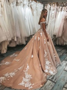 Charming Ball Gown Off the Shoulder Open Back Champagne Long Prom Dresses with Appliques,Evening Party Dresses,Wedding Dresses