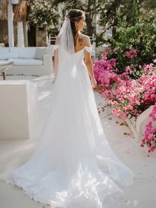 Gorgeous A-Line Off the Shoulder White Wedding Dresses with Train