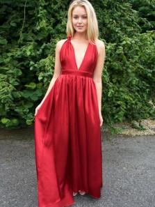 2019 Elegant A-Line Deep V Neck Backless Red Satin Long Prom Dresses,Simple Evening Party Dresses Under 100