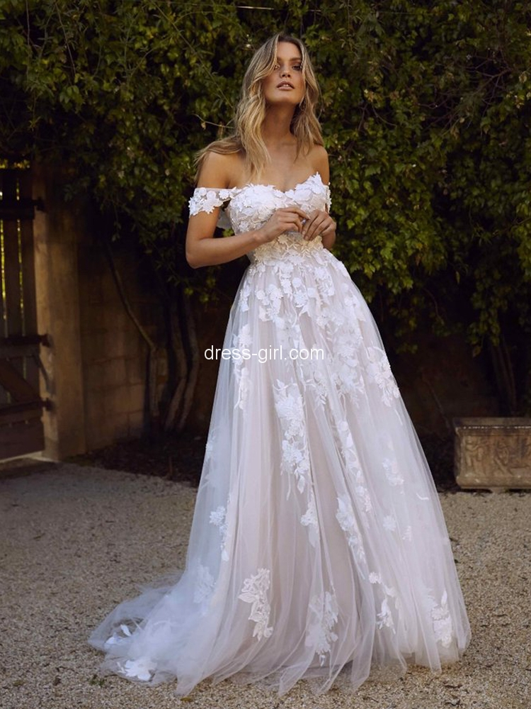 Modest A Line Off The Shoulder Open Back White Beach Wedding Dresses Dress Girl Com