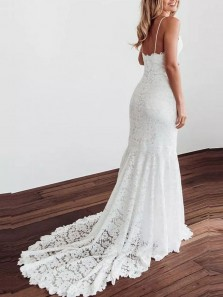 Gorgeous Mermaid V Neck Spaghetti Straps White Lace Wedding Dresses