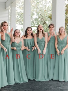 Simple A-Line Mint Chiffon Long Bridesamid Dresses Under 100