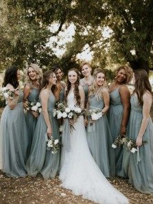 Elegant A-Line V Neck Tulle Long Bridesmaid Dresses