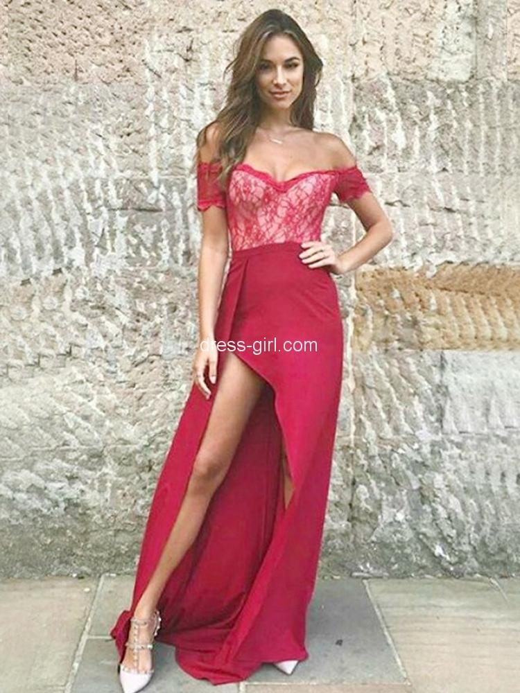 46754b83546 Unique Off the Shoulder Open Back Dark Red Satin Irregular Long Prom  Dresses with Lace,Elegant Party Dresses