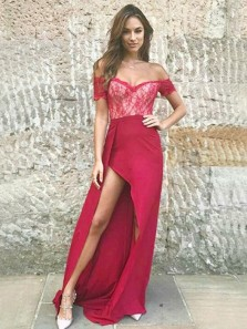 Unique Off the Shoulder Open Back Dark Red Satin Irregular Long Prom Dresses with Lace,Elegant Party Dresses
