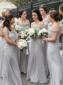 Elegant Sheath Off the Shoulder Grey Chiffon Long Bridesmaid Dresses with Straps