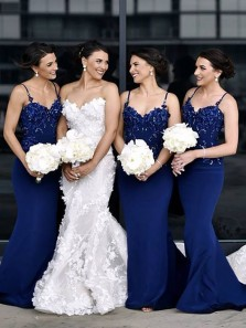 Stylish Mermaid Sweetheart Spaghetti Straps Open Back Navy Blue Satin Long Bridesmaid Dresses with Appliques